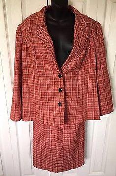 Le Suit Women Two Piece Skirt Jacket Red Plaid New 16W Color 606 Style A3072L