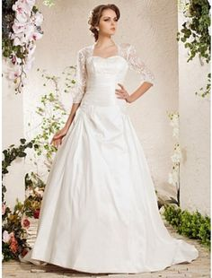 Beautiful Ball Gown Sweetheart Satin and Lace Chapel Train Wedding Dress