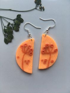 Polymer clay earrings inspired by nature / Statement jewelry / Unique gift by ByDashka on Etsy