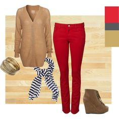 color ideas to wear with my red jeans