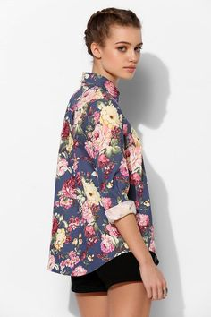 Sister Jane Garden Denim Button-Down Shirt #urbanoutfitters