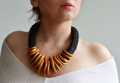 Gold statement necklace gold tribal necklace gold by byNao on Etsy, €39.00