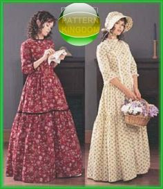 Butterick 3992 American Colonial Pioneer Dress & Bonnet Patterns