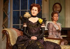 "Theatrical promotional still of the Manhattan Theater Club's production of the Lillian Hellman play ""The Little Foxes"", 2017.  L to R: Laura Linney, Cynthia Nixon.  Linney and Nixon alternated the roles of Regina Giddens and Birdie during the run of this show."