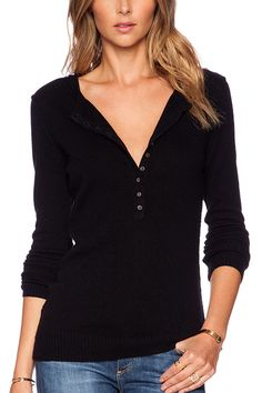 Black Knitted Sweater with V Neck - US$31.95 -YOINS