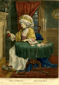 """December / The Twelve Months"". A young woman in fashionable dress, shown full-length sitting at a round table, looking to left and pulling an elaborate bell-pull with her right hand and holding a candle-snuffer in her left; her left elbow resting on an open copy of Richardson's 'Pamela'; two candles and playing-cards on the table, a kitten at her feet and a moonlit sky seen through the window in the background."