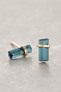 Nova Studs from Anthropologie. Beautiful blue tourmaline gemstone stud earrings!