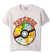 0a7f37325b Pokemon Big Boys Pokemon Ball Short Sleeve Tee, Silver, Pokemon group short  sleeve t-shirt - featuring Pikachu, charizard and