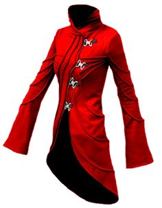 Vodabox - Red Fleece Coat with Metal Clip Fasteners [V271fl_red] - £83.99 : Gothic Clothing, Gothic Boots & Gothic Jewellery. New Rock Boots, goth clothing & goth jewellery. Goth boots and alternative clothing