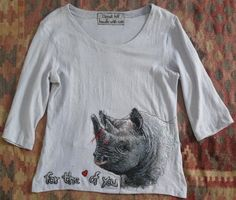"""Save the Rhino T-Shirt 1"" free motion machine embroidery on a made T-Shirt"