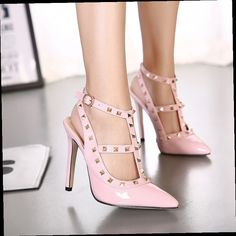 42.00$  Buy here - http://alic07.worldwells.pw/go.php?t=32734410659 - High Quality  Design Rivet Woman Shoes PU Studded Slingback Sexy High Thin Heels Sandals Fashion Pointed Toe Buckle Shoes 2445