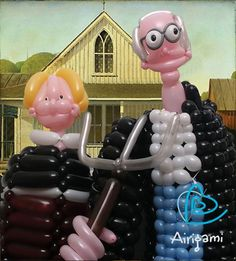 'American Gothic' as balloon art by Larry Moss and Kelly Cheatle ~ Love it!