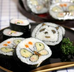 Butterfly and panda sushi.