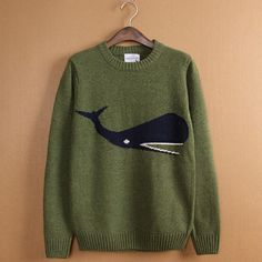 Mens Knitted Jumper - Wool Sweater Mens - Wool Knit Jumper - Animal Print Whale Sweater (Plus Size for Women)