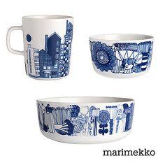 Siirtolapuutarha tableware, Blue (bowl, mug, salad bowl), by Marimekko