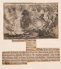Poc després del setge de Barcelona i per ordre del duc de Berwick, els símbols de la ciutat (l'estendard de Santa Eulàlia, el penó de Sant Jordi i més de quaranta banderes de La Coronela) foren requisats i enviats a Madrid. Felip V els féu retornar immediatament a Barcelona amb l'ordre que fossin cremats públicament.  http://1714.mhcat.cat/ambit06/barcellona_1714.html