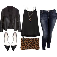 Skinny Jeans/ Long Flowy Black Tank/ Black Leather Jacket/ Black Pointed Toe Flats/ Cheetah Clutch