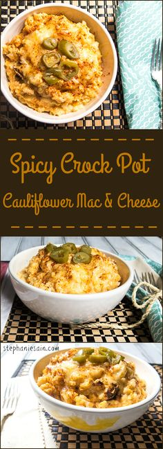 Spicy Crock Pot Cauliflower Mac & Cheese is a healthier low carb option for mac & cheese. Vegetarian and Gluten Free.