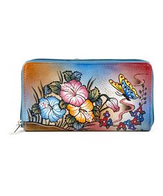 Look what I found on #zulily! Blue Butterfly Garden Hand-Painted Leather Wallet by Biacci #zulilyfinds