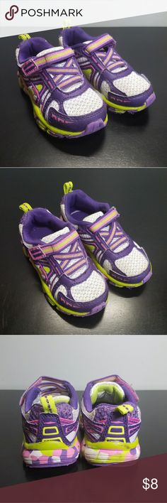 Little girls Avia sneakers Toddler size, Avia sneakers. All velcro. Bright green & purple. Avia Shoes Sneakers