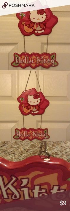 """NWOT Hello Kitty garden decor 🚫No offers on this unless bundled with other item(s).🚫No holds or trades. Dress up the garden with this ceramic Hello Kitty decor. Total hang down is approximated at just under 17"""". Not intended for children. Small, superficial chip can easily be covered (image 3). NEW WITHOUT TAGS. Hello Kitty Other"""