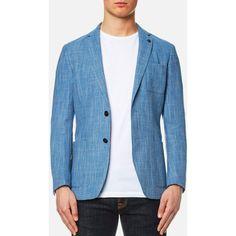 Michael Kors Men's Wool Linen Blazer - Bay (8,595 MXN) ❤ liked on Polyvore featuring men's fashion, men's clothing, men's sportcoats, blue, mens wool blazer, men's apparel, mens blazers, mens blue blazer and mens linen blazer