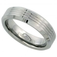 6mm Tungsten Wedding Band 3 Grooves Beveled Edges Comfort fit, sizes 6 to 9