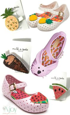 Mini Melissa Pineapple Shoes, Mini Melissa Bunny Shoes and Mini Melissa Watermelon Shoes paired with Milk & Soda Hair accessories to complete your outfit!