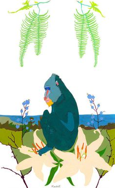 This is a blue monkey. It is a calm, thoughtful creature, hanging out on some lilies, thinking about the ocean. Of course, an actual mandrill is a big, wild monkey with orange eyes and brown fur who probably isn't contemplating the fragility of life or the vastness of the universe, or ... ?