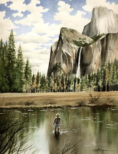 FLY FISHING YOSEMITE Art Print Signed by Artist D J Rogers on Etsy, $12.50