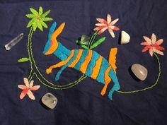 El conejo. Bordado otomi. Tenangos y cristales. The rabbit, otomi embroidery, embroidery and crystals, by Jessica Galvez.