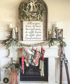 Farmhouse Christmas Rustic Mantle Decorating Ideas Stockings Fireplace Natural Garlands