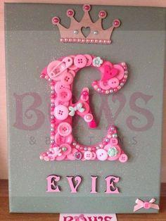 Personalised Button Art Canvas - Baby Shower, Christening, Birthday, Wedding