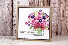 Stampin up - Geburtstagskarte, birthday card, Glasklare Grüße, Framelits Formen Einweckgläser für alle Fälle, stampset Jar of Love, + Everyday Jars Framelits Dies - Fine Paper Arts