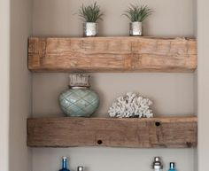 Adding Wood Beams to Your Home on a Budget - Mobile Home Repair Wood Wall Shelf, Wall Shelves Design, Wood Wall Decor, Wood Yard Art, Wood Pallet Art, Wood Art, Barn Wood, Wood Wood, Home Remodeling Diy