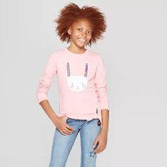 Girls  Long Sleeve Flip Sequin Bunny Pullover - Cat   Jack™ Pink ad7ecf936