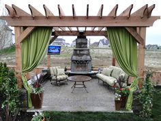 stacked stone firepit with seating wall and pergola - would be ... - Pergola Ideas For Patio