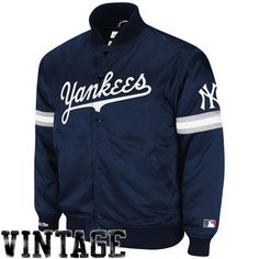 Mitchell & Ness New York Yankees Vintage MLB Backup Satin Jacket - Navy Blue