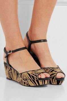 67686e0662bf Jimmy Choo - Perla cork-appliquéd suede wedge sandals