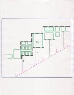 Diagram for picture frame collage on staircase