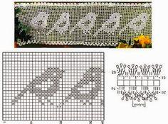 Lace Edging Crochet Patterns Part 9 - Beautiful Crochet Patterns and Knitting Patterns Filet Crochet, Crochet Motifs, Crochet Cross, Crochet Diagram, Crochet Chart, Crochet Doilies, Crochet Stitches, Cross Stitch Bird, Cross Stitching