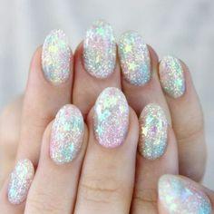 Pastel Rainbow Glitter Nail Art.