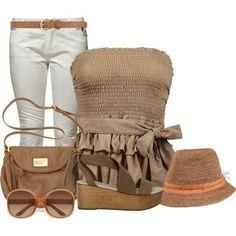 Summer boho. Brown tube top. Brown sling bag. White pants. Platform sandals. Brown hat