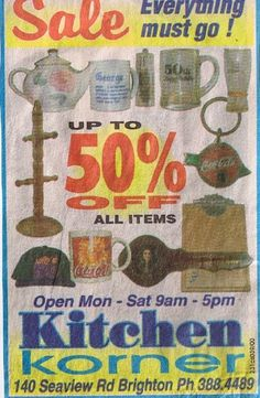Kitchen Korner, New Brighton, Closing down sale, a common sight in the late 80's. Christchurch, New Zealand.