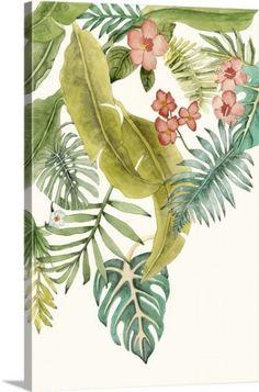 Naomi McCavitt Premium Thick-Wrap Canvas Wall Art Print entitled Soft Tropics II, None Canvas Wall Art, Wall Art Prints, Poster Prints, Vintage Botanical Prints, Botanical Art, Flower Room Decor, Hawaiian Party Decorations, Tropical Plants, Framed Artwork