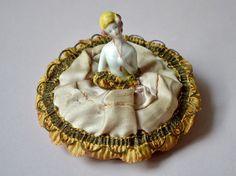 Antique Powder Puff Porcelain Doll German Silk by LaMeowVintage, $49.00