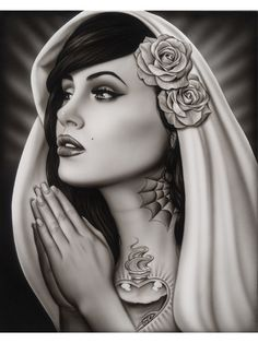 mexican pinup tattoo | ... Mary Spider Framed Art Print Mexican Tattoo Praying Virgin Pinup Girl