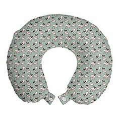 """Perfect for your Baby and Nursery Ambesonne Multicolor Travel Pillow,Ambesonne Multicolor Travel Pillow, STANDARD SIZE - 12"""" Wide x 12"""" Long. U shape head support. Rest pillow with durable printed cover. MADE FROM - Soft & moldable viscoelastic memory foam. Sturdy and soft 100% polyester fabric cover. FEATURES - Breathable. Removable cover has zipper closure. Easy to attach with snap..."""