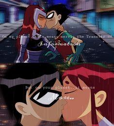 Robin Starfire, Teen Titans Starfire, Nightwing And Starfire, Teen Titans Love, Teen Titans Robin, Original Teen Titans, Teen Titans Fanart, Beast Boy, Dc Comics