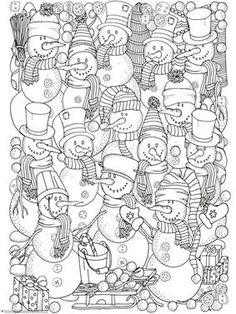 Winter Doodle Coloring Pages - (Christmas Art School) Christmas Coloring Pages, Coloring Book Pages, Printable Coloring Pages, Coloring Sheets, Snowman Coloring Pages, Doodle Coloring, Free Coloring, Coloring Pages For Kids, Mandala Coloring